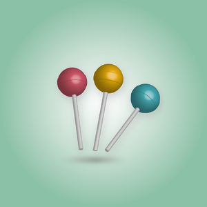 3 d lolly pop retro cores